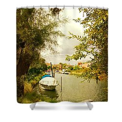 Shower Curtain featuring the photograph Malamocco Canal No1 by Anne Kotan