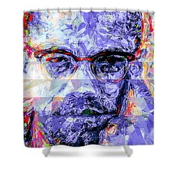 Malcolm X Digitally Painted 1 Shower Curtain by David Haskett