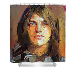 Malcolm Young Acdc Tribute Portrait Shower Curtain