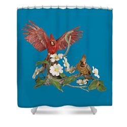 Male And Female Cardinals  Shower Curtain by Walter Colvin