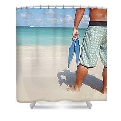 Male Bodyboarder Shower Curtain by Brandon Tabiolo - Printscapes