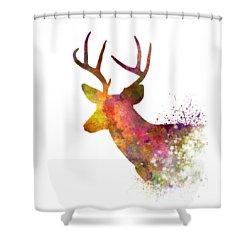 Male Deer 02 In Watercolor Shower Curtain by Pablo Romero