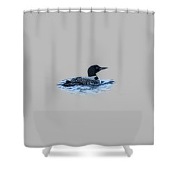Male Mating Common Loon Shower Curtain by Daniel Hebard
