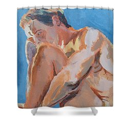 Male Nude Painting Shower Curtain