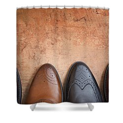 Shower Curtain featuring the photograph Male Shoes by Andrey  Godyaykin