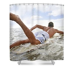 Male Surfer Shower Curtain by Brandon Tabiolo - Printscapes