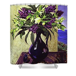 Malibu Hyacinths In Deep Blue Blue  Ceramic Shower Curtain