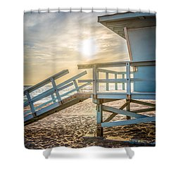 Malibu Lifeguard Tower 3 Sunset On Zuma Beach Shower Curtain