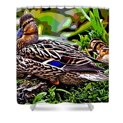 Shower Curtain featuring the mixed media Mallard And Chicks by Charles Shoup