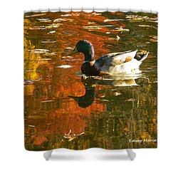 Mallard Duck In The Fall Shower Curtain