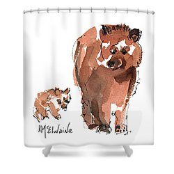 Mama And Baby Series Bear Shower Curtain