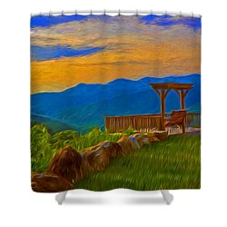 Blue Ridge Sunset From Mama Gertie's Hideaway Shower Curtain