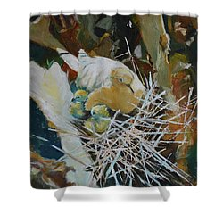 Mama And Babies Shower Curtain by Julie Todd-Cundiff