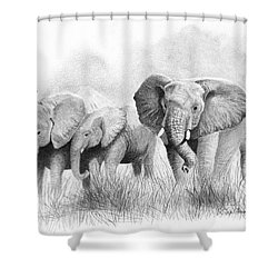 Shower Curtain featuring the drawing Mama Says by Phyllis Howard