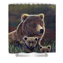 Shower Curtain featuring the painting Mammas Warmth by Leslie Allen