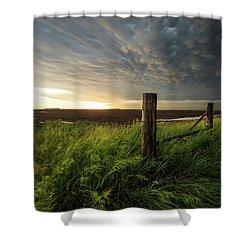 Shower Curtain featuring the photograph Mammatus Sunset by Aaron J Groen