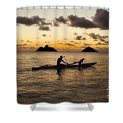 Man And Dog In Canoe Shower Curtain by Dana Edmunds - Printscapes