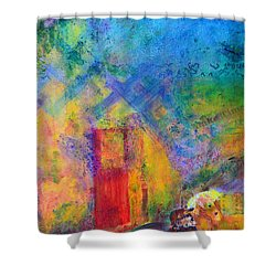 Shower Curtain featuring the painting Man And Horse On A Journey by Claire Bull