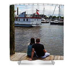 Man And Woman Sitting On Dock Shower Curtain