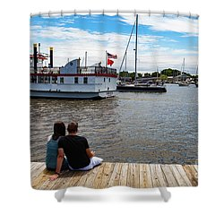 Man And Woman Sitting On The Dock Shower Curtain