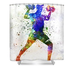 Man Exercising Weight Training Shower Curtain