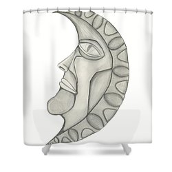 Man In The Moon Shower Curtain by Sara Stevenson