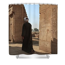 Shower Curtain featuring the photograph Man In The Temple by Silvia Bruno