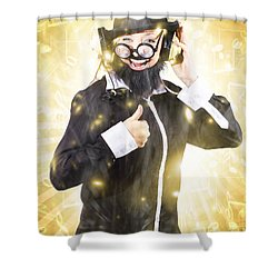 Shower Curtain featuring the photograph Man Listening To Fm Radio Broadcast With Headphone by Jorgo Photography - Wall Art Gallery