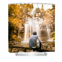 Shower Curtain featuring the photograph Man Looking At Waterfall by Jorgo Photography - Wall Art Gallery