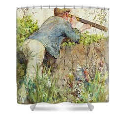 Shower Curtain featuring the painting Man Looking Through A Telescope by Henry Scott Tuke
