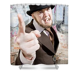 Man Making A Point Shower Curtain by Jorgo Photography - Wall Art Gallery
