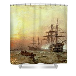 Man-o-war Firing A Salute At Sunset Shower Curtain by Claude T Stanfield Moore