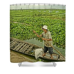Man Of Daily Life Shower Curtain by Arik S Mintorogo