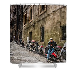 Man On A Scooter Siena-style Shower Curtain