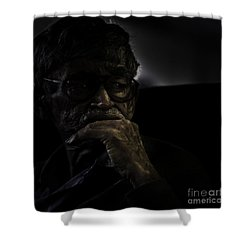 Man On Ferry Shower Curtain by Avalon Fine Art Photography