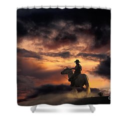Man On Horseback Shower Curtain by Ron Sanford and Photo Researchers