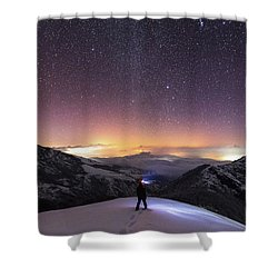 Man On Mars Shower Curtain by Evgeni Dinev
