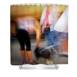 Woman Playing With Dog Shower Curtain