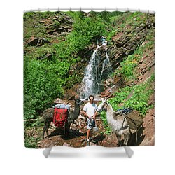 Man Posing With Two Llamas Mountain Waterfall Shower Curtain by Jerry Voss