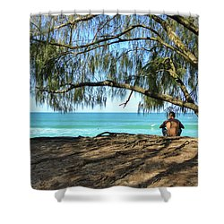 Man Relaxing At The Beach Shower Curtain