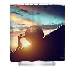 Man Rolling Huge Concrete Ball Up Hill Shower Curtain