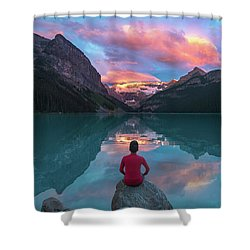 Shower Curtain featuring the photograph Man Sit On Rock Watching Lake Louise Morning Clouds With Reflect by William Lee