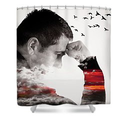 Man Thinking Double Exposure With Birds Shower Curtain