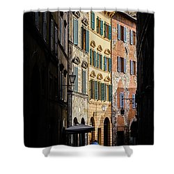 Man Walking Alone In Small Street In Siena, Tuscany, Italy Shower Curtain