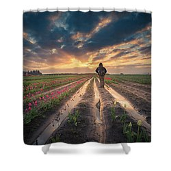 Shower Curtain featuring the photograph Man Watching Sunrise In Tulip Field by William Lee