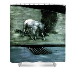 Man With Dog  Shower Curtain