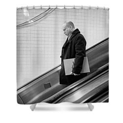 Shower Curtain featuring the photograph Man With Envelope On Escalator by Dave Beckerman