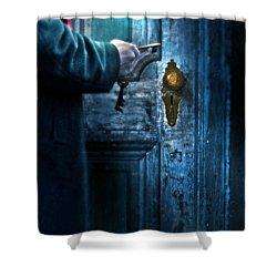 Man With Keys At Door Shower Curtain by Jill Battaglia