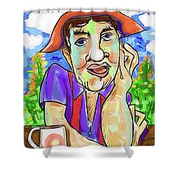Man With Red Suspenders Shower Curtain