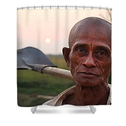 Man With Shovel Shower Curtain